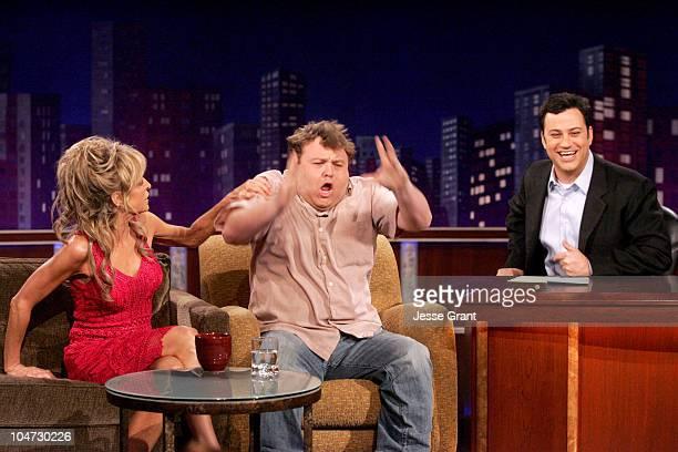 Farrah Fawcett Frank Caliendo and Host Jimmy Kimmel on the Jimmy Kimmel Live show on ABC Photo by Jesse Grant/WireImagecom/ABC
