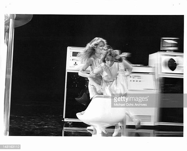 Farrah Fawcett grabbing Jenny Agutter in a scene from the film 'Logan's Run' 1976
