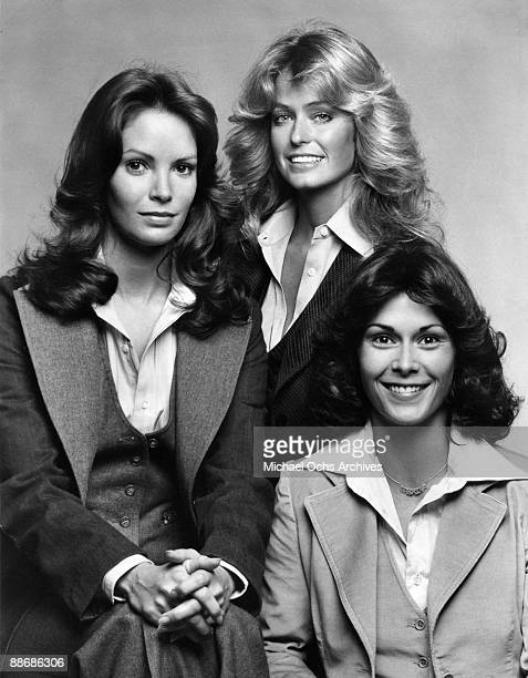 R Farrah Fawcett Jaclyn Smith and Kate Jackson pose for a portrait on the set of Charlie's Angels circa 1977 in Los Angeles California