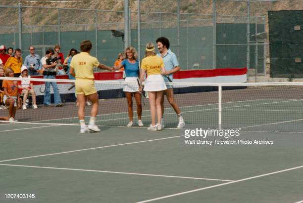 Farrah Fawcett, Karen Grassle, Gabe Kaplan competing in the tennis competition on the ABC tv series 'Battle of the Network Stars II'.