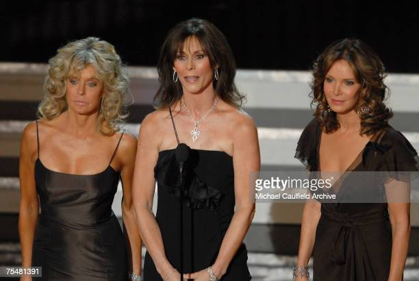 Farrah Fawcett Kate Jackson and Jaclyn Smith during Aaron Spelling tribute at the Shrine Auditorium in Los Angeles California