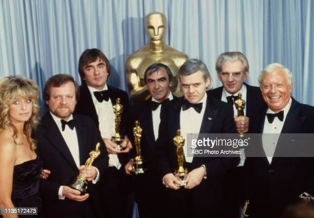 Farrah Fawcett Nick Allder Brian Johnson Carlo Rambaldi HR Giger Dennis Ayling with their Academy Awards Harold Russell appearing on the 52nd Academy...