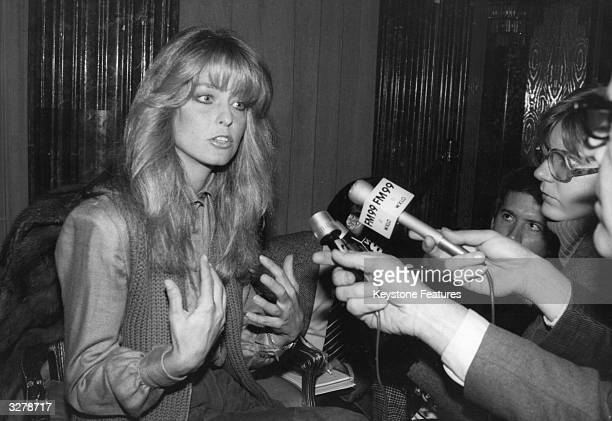 Farrah Fawcett the television actress famous for her part in the series 'Charlie's Angels' attends a press conference in New York after becoming the...