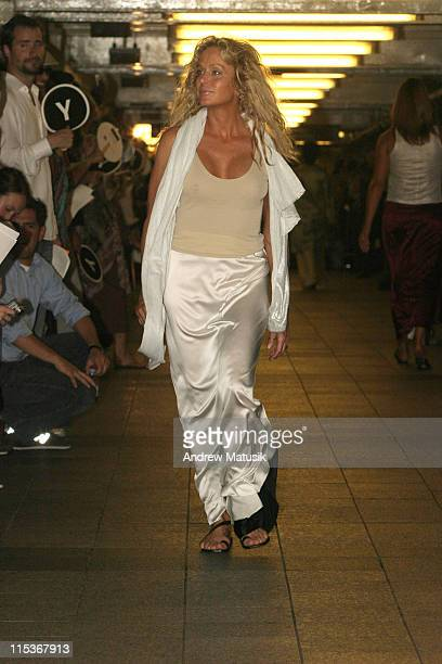 Farrah Fawcett wearing Yeohlee Spring 2005 during Olympus Fashion Week Spring 2005 Yeohlee Runway at 42nd Street Station New York City Subway in New...