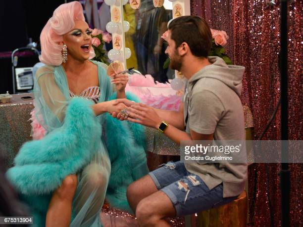 Farrah Moan greets an attendee during 3rd Annual RuPaul's DragCon day 2 at Los Angeles Convention Center on April 30 2017 in Los Angeles California