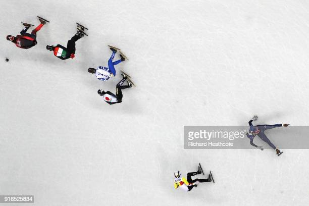 Farrell Treacy of Great Britain crashes during the Men's 1500m Short Track Speed Skating qualifying on day one of the PyeongChang 2018 Winter Olympic...