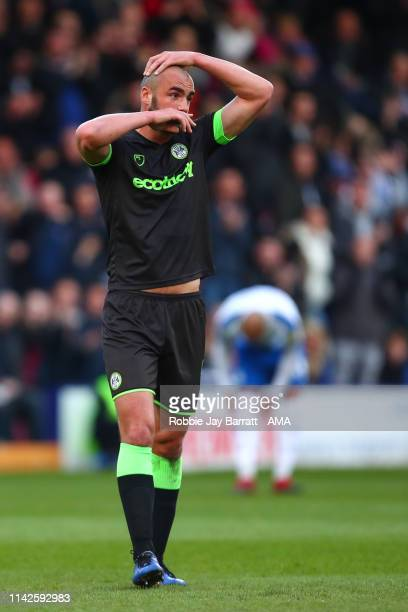 Farrend Rawson of Forest Green Rovers reacts after Gavin Gunning of Forest Green Rovers is sent off during the Sky Bet League Two Playoff Semi Final...