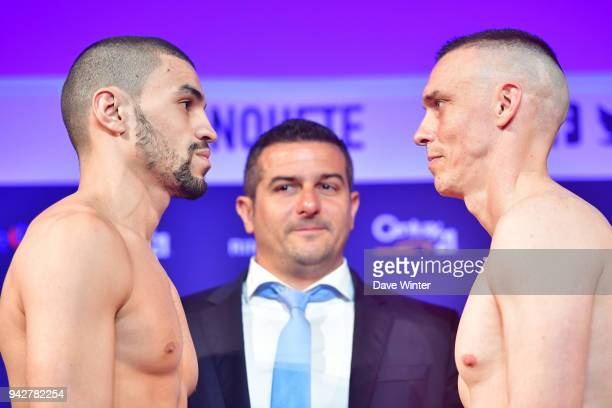Farrhad Saad of France French promoter Jerome Abiteboul and Jeremy Bougamont of France during the press conference and weigh in on April 6 2018 in...