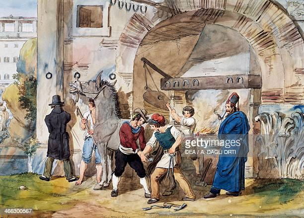 Farrier in Rome at the Trevi Fountain watercolour by Achille Pinelli Italy 19th century