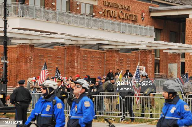 FarRight Extremists Proud Boys and 3 Percenters rally with other Trump supporters outside of the Consitution center in an effort to rebrand their...