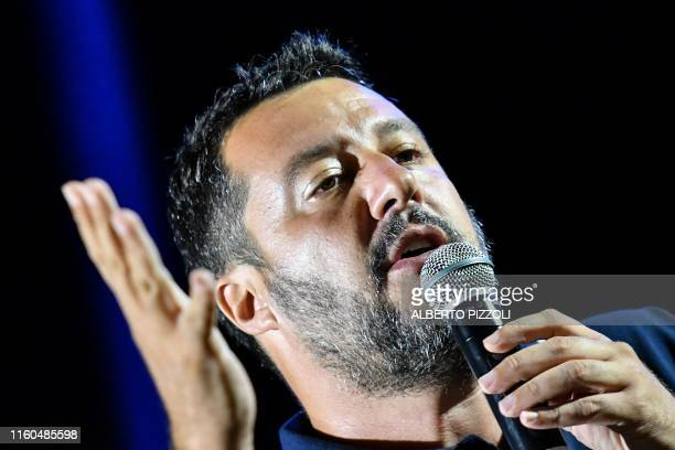 Far-right Interior Minister Matteo Salvini delivers a speech during his electoral tour on August 9, 2019 in Mola di Bari, south of Italy. - Salvini...