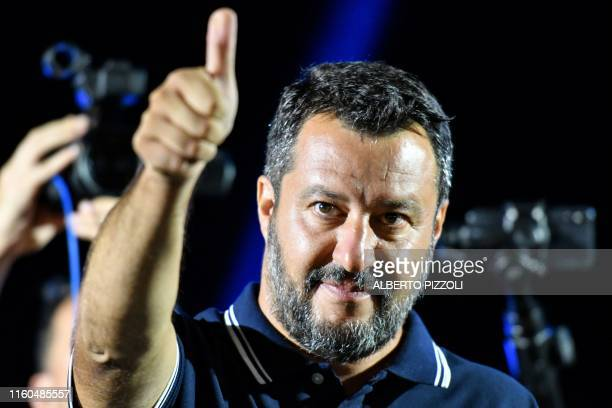 Farright Interior Minister Matteo Salvini gestures during his electoral tour on August 9 2019 in Mola di Bari south of Italy Salvini pulled his...