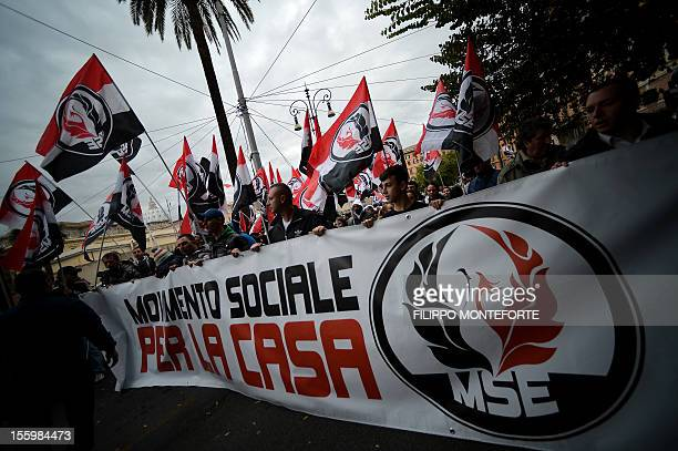 Far-right militants of the Movimento sociale europeo march during a demonstration of far-right movements on November 10, 2012 in Rome. Some 200...