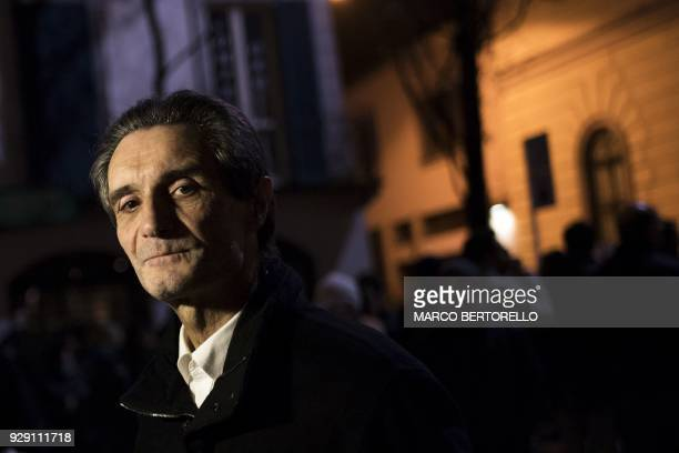 Far-right party Lega's newly elected President of the Lombardy Region and former mayor of Varese, Attilio Fontana poses after an interview on March...
