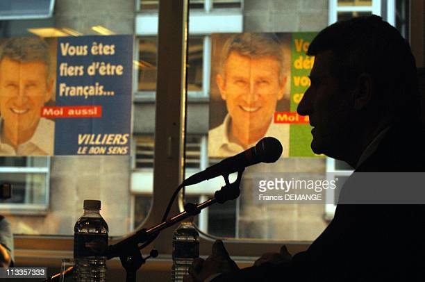 FarRight Presidential Candidate Of The Movement For France Philippe De Villiers In Nancy France On April 13 2007