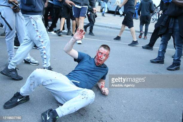 FarRight protesters are being assaulted by a group of Black Lives Matters protesters in front of Waterloo Station during a demonstration in London...