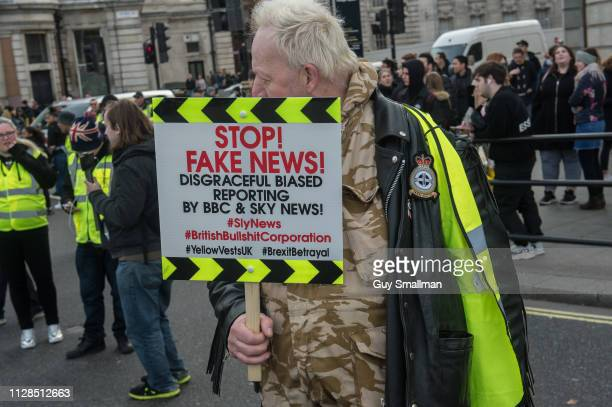 Farright 'yellow vest' protestors block roads around the Trafalgar square roundabout on February 9 2019 in London England Demonstrators were...