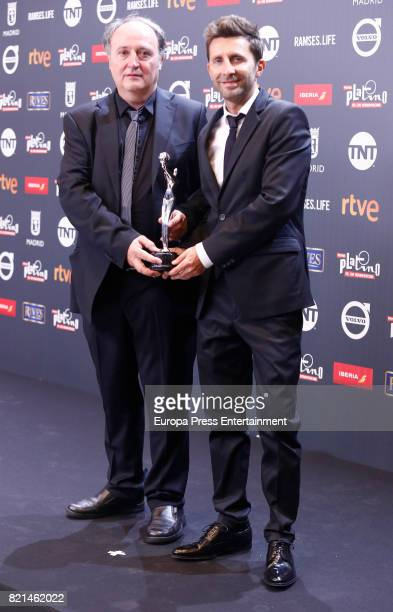 Farruco Castroman and Carlos Suarez are seen at Platino Awards winners press room at La Caja Magica on July 22 2017 in Madrid Spain