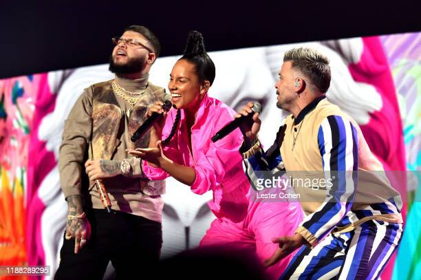Farruko Alicia Keys and Pedro Capo perform onstage during the 20th annual Latin GRAMMY Awards at MGM Grand Garden Arena on November 14 2019 in Las...