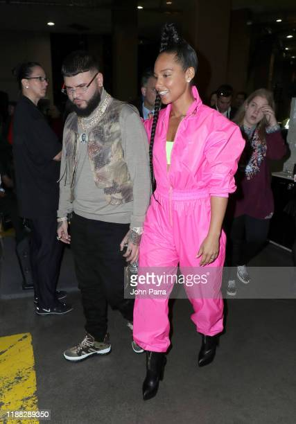 Farruko and Alicia Keys attend the 20th annual Latin GRAMMY Awards at MGM Grand Garden Arena on November 14 2019 in Las Vegas Nevada