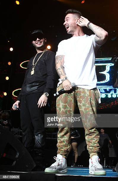 Farruko and J Balvin perform at American Airlines Arena on April 10 2014 in Miami Florida