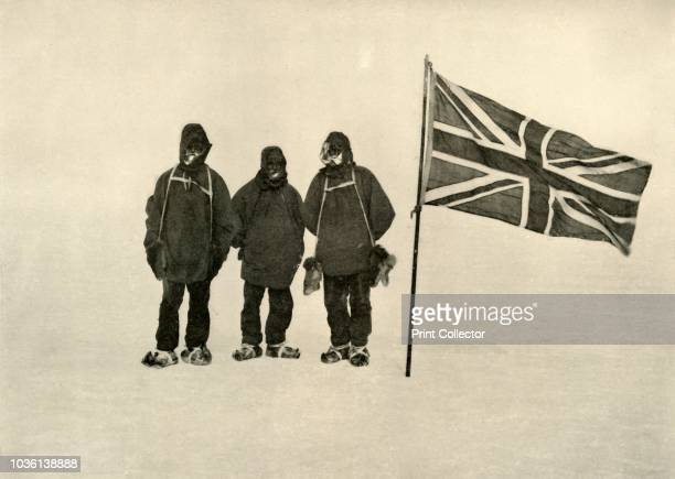 Farthest South', 9 January 1909. Jameson Adams, Frank Wild and Eric Marshall plant the Union Jack at their southernmost position, 88° 23'....