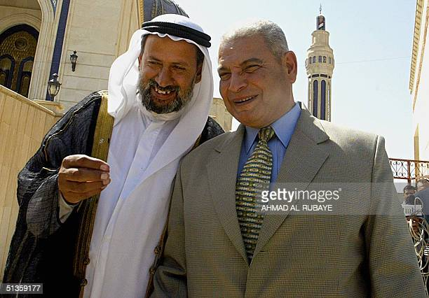 Faruq Mabrouk head the Egyptian interest section in Baghdad is escorted by Abdul Menaim alKaissi upon his arrival to Um alQura mosque to meet with...