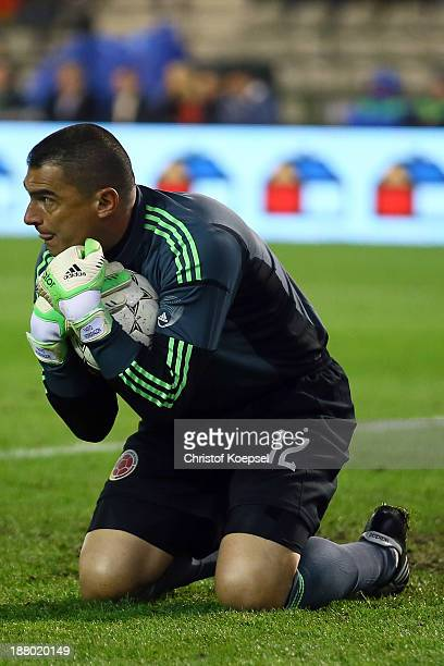 Faryd Mondragon of Colombia saves the ball during the international friendly match between Belgium and Colombia at King Badouin stadium on November...