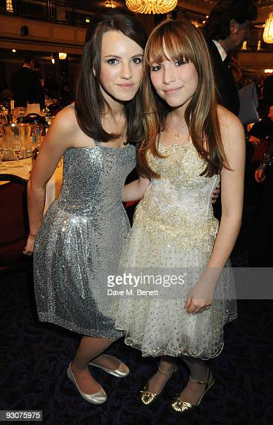 Faryl Smith and Olivia Aaron attend the Variety Club Showbiz Awards at the Grosvenor House on November 15 2009 in London England