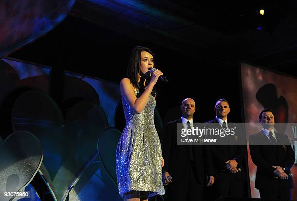 Faryl Smith performs on stage during the Variety Club Showbiz Awards at the Grosvenor House on November 15 2009 in London England