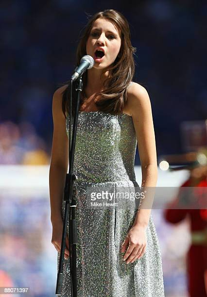 Faryl Smith sings during the FA Cup sponsored by EON Final match between Chelsea and Everton at Wembley Stadium on May 30 2009 in London England