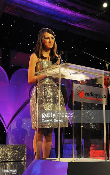 Faryl Smith with The Classical Award sponsored by Classic FM attends the Variety Club Showbiz Awards at the Grosvenor House on November 15 2009 in...