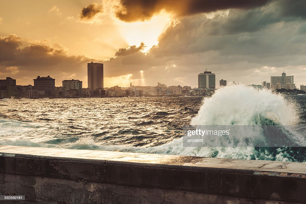 Fascinating evening cloudscape over the the Malecon in Havana, Cuba : Stock Photo