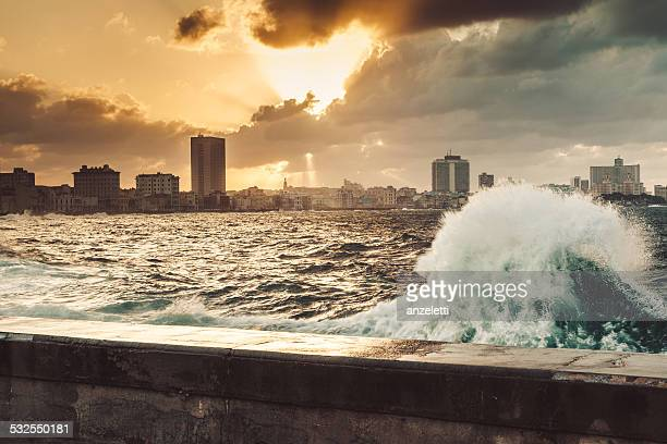 Fascinating evening cloudscape over the the Malecon in Havana, Cuba