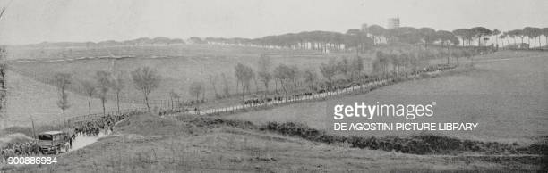 Fascist column marching in the Roman countryside March on Rome Italy from L'Illustrazione Italiana Year XLIX No 45 November 5 1922