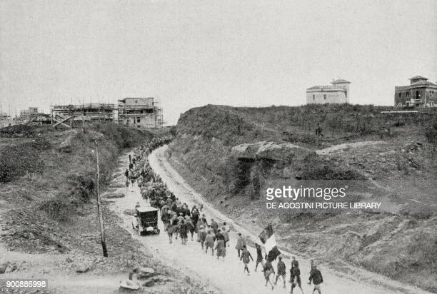 Fascist column outside Rome March on Rome Italy from L'Illustrazione Italiana Year XLIX No 45 November 5 1922