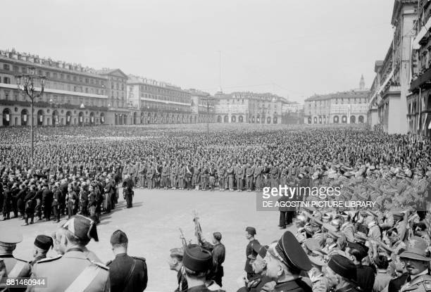 Fascist gathering in Piazza Vittorio Veneto May 14 Turin Italy 20th century