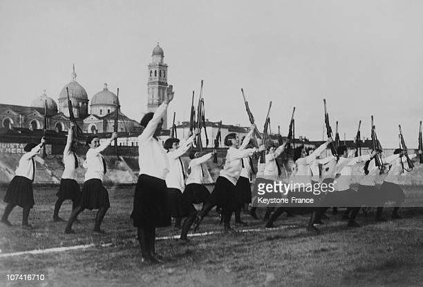 Fascist Italian Girls Presenting Arms