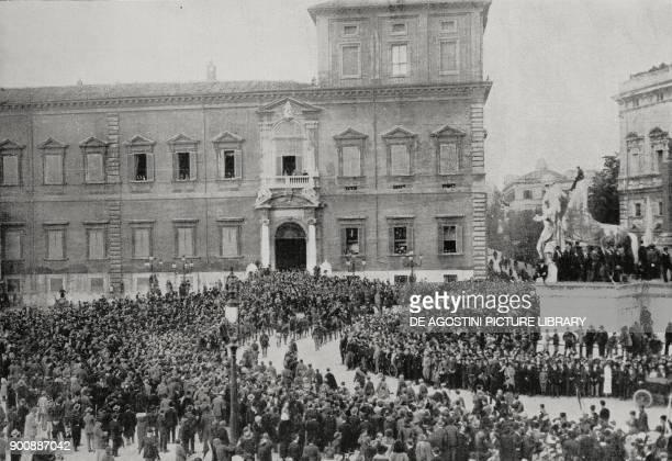 Fascist squads saluting King Vittorio Emanuele III Rome March on Rome Italy from L'Illustrazione Italiana Year XLIX No 45 November 5 1922
