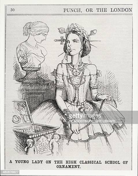 Fashion 19th century Caricature of women's clothing A young Lady on the high classical school of ornament Satirical illustration from Punch Or the...