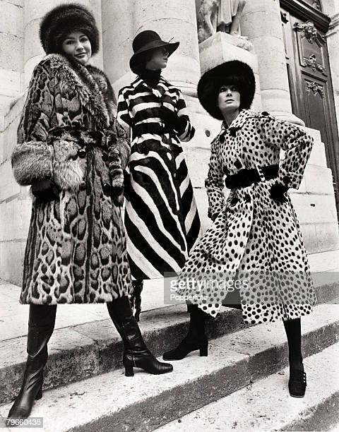 Fashion 20th July 1970 Three 'midi' fur coats designed by Chombert are modelled in Paris France Leftright a tortuga fur with marmot collar and cuffs...