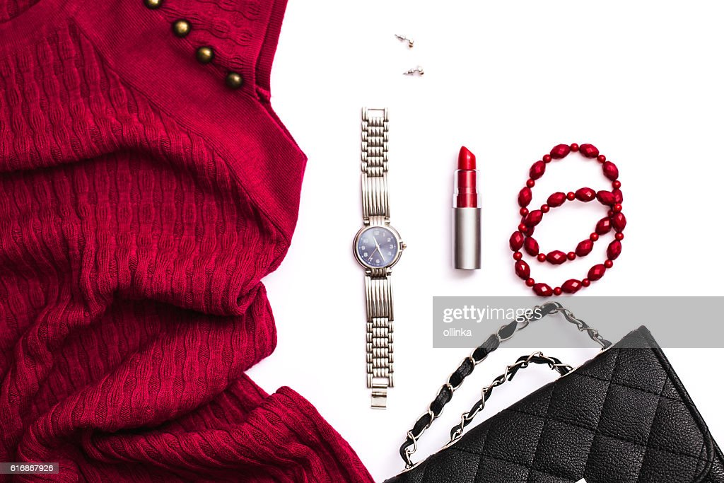Fashion accessories on white background : Stock Photo