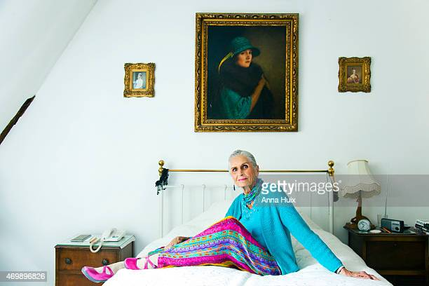 Fashion and beauty model Daphne Selfe is photographed for the Telegraph on September 11 2013 in London England