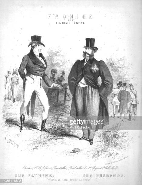 Fashion and its Developement.', early 19th century. 'Our Fathers - Our Husbands: Which is the Most Absurd'. A comment on men's clothing: the tight...