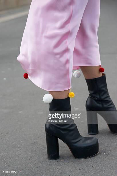 Fashion and jewellery designer Natasha Zinko Natasha Zinko dress and Vetements shoes on day 3 during Paris Fashion Week Autumn/Winter 2016/17 on...