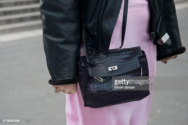 Fashion and jewellery designer Natasha Zinko Natasha Zinko dress and a Hermes jacket and bag on day 3 during Paris Fashion Week Autumn/Winter 2016/17...