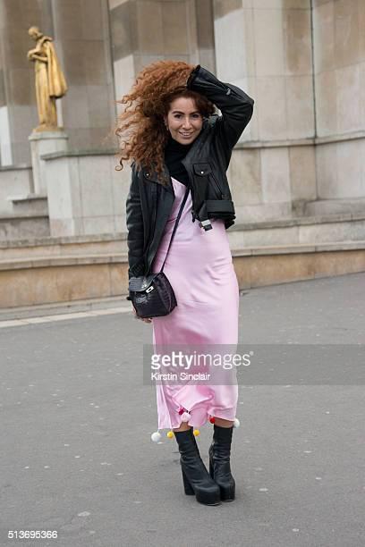 Fashion and jewellery designer Natasha Zinko Natasha Zinko dress Hermes jacket and bag and Vetements shoes on day 3 during Paris Fashion Week...