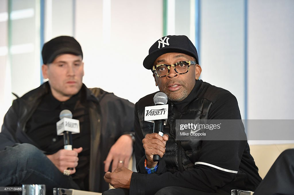 Fashion and Media Entrepreneur Marc Ecko and filmmaker Spike Lee speak onstage at Variety's Entertainment and Technology Summit NYC at Le Parker Meridien on April 30, 2015 in New York City.