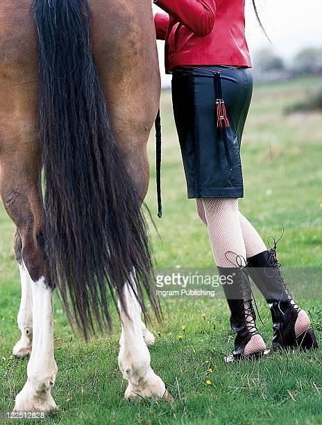 fashion and sitting on a horse. - accouplement cheval photos et images de collection