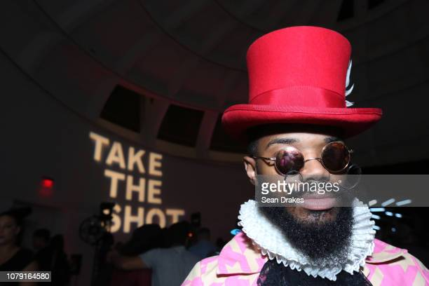 Fashion artist Lamar Sanchez of Belize poses at the Bacardi No Commission Marquee Performance hosted by Swizz Beatz and The Dean Collection at Faena...